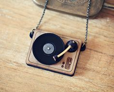 DJ Turntable Necklace or Brooch. Personalized by StrangelyYours~so cute~