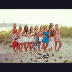 Cute dresses for and on the beach <<3 group picture in Gulf shores Alabama! I'm in the white strapless dress with pink flowers. Next to the girl laughing <3 besties best friends picture.