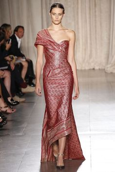 Red sari-style Marchesa gown from the spring 2013 collection