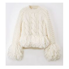 cables and bottom fringe detail - Knitwear Fashion, Knit Fashion, Fashion 2017, Love Fashion, Fashion Outfits, Unique Fashion, Knitted Coat, Sweater Shop, Knitting Designs
