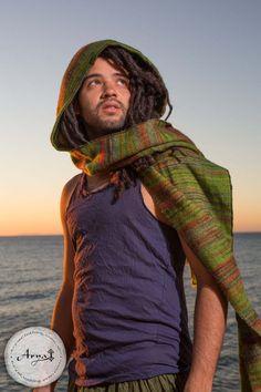 Hoodie Scarf (Green) - Gypsy Wool Kashmiri Hoddie Scarf Bohemian Hippie Style…
