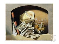 A Trompe L'Oeil of Paper Money, Coins and a Broken Glass Jar in a Niche Giclee Print at Art.com