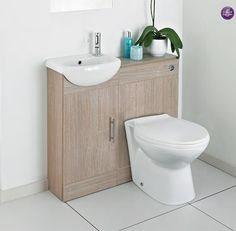 Light Oak Cloakroom Furniture Pack 206 all in, WOW! ALL INCUDED Features:  Ceramic basin.  Chrome handles.  High quality gloss finish.  Tap not included.  Includes:  400mm Basin Unit  500x200mm BTW Unit  Concealed Dual Flush Cistern  BTW Pan & Soft Close Seat