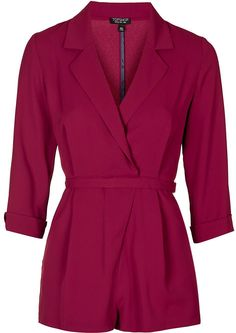 Womens raspberry wrap front playsuit - burgundy, burgundy from Topshop - at… Asos, Topshop, Winter Typ, Dark Winter, Playsuit Romper, Playsuits, Jumpsuits, Clothing Items, How To Look Pretty