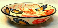 Ceramic pasta bowl in the seafood pattern depicting mussels and prawns painted by Geoff Graham of Cinnabar Ceramics in Vallejo, California, limited edition 2015