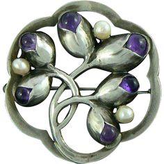 Evald Nielsen Skonvirke Brooch Amethysts Pearls Sterling Silver Denmark