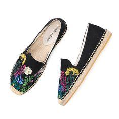 Women's Espadrilles, Espadrille Shoes, Sandals, Comfortable Flats, Womens Flats, Slip On Shoes, Black Shoes, Boho, Cotton Fabric