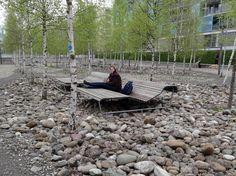 Lounge furniture at Oerliker park, Zürich, Switzerland.