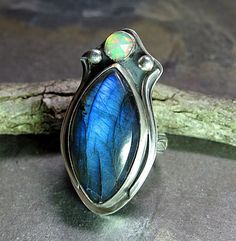 "Labradorite Ring with Ethiopian Opal  ""Inner Light""  by LavenderCottage on Etsy,"
