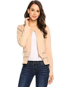 Zeagoo Womens Casual Zipper Cardigan Blazer O Neck Slim Fitted Office Jacket S Beige * Be sure to check out this awesome product. (This is an affiliate link) #WomensAutomnFashionBlazersSuitJackets