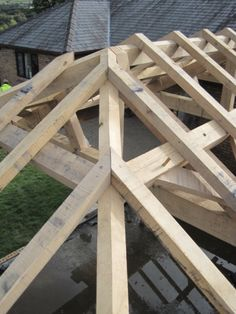 Case Study - Oak hipped roof by Castle Ring Oak Frame Framing Construction, Wood Construction, Wooden Gazebo, Timber Structure, Roof Trusses, Patio Shade, Hip Roof, Pole Barn Homes, Roof Design
