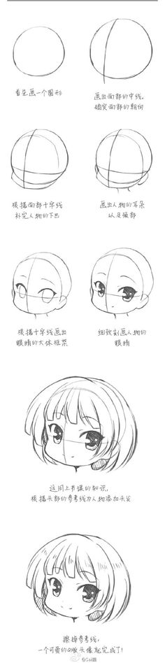Cómo hacer la cara de una chibi / how to draw a chibi girl face                                                                                                                                                                                 More