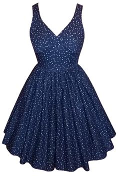 Full gathered 'Lily' in shooting stars navy