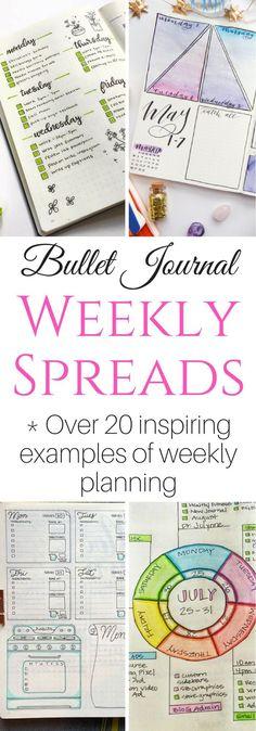 bullet journal layouts, bullet journal weekly spread, planner ideas