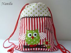Owl Christmas Back Pack Applique Tutorial, Diy Accessoires, String Bag, Fabric Bags, Kids Bags, Cute Bags, Sewing For Kids, Bag Storage, Bag Accessories