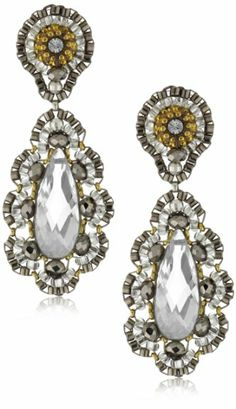 Amazon.com: Miguel Ases Pyrite Bead 14k Gold Filled Embroidered Drop Earrings: Jewelry
