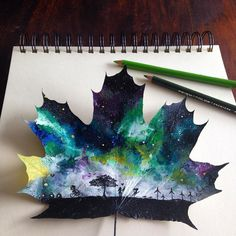 Artist Creates Incredible Paintings Using Fallen Autumn Leaves as Canvases