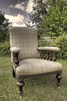 ... Mahogany Open Arm Library Chair Fully Restored In Our Workshops With  Hand Stitching, Horse Hair Overstuffing And Covered In Our Fine English  Wool Tweed.