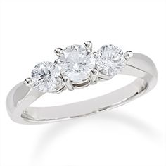 1 CT. T.W. Certified Colorless Diamond Three Stone Ring in 18K White Gold