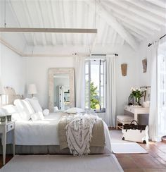white/rustic/lace/wood, love the big mirror beside the bed