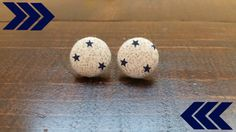 Small Blue Stars Fabric Button Earrings /Button Earrings / Handmade Jewelry / Stud Earrings / Fabric Covered Button Earrings / Gifts for her