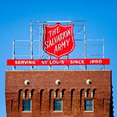 Classic Salvation Army sign in St. Louis, US.  (Retro styling or true vintage)