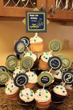 Personalized Lawn Mower Cupcake Toppers by InitialMePink on Etsy, $12.00