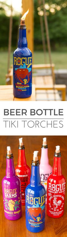 Beer Bottle Tiki Torches -- using colorful Rogue craft beer bottles makes for a fresh and fun take on the popular DIY wine bottle tiki torches… Super easy to make, takes under 20 minutes start to finish! | via @unsophisticook on unsophisticook.com