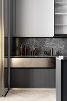 Grey Based Neoclassical Interior Design With Muted & Metallic Accents Kitchen Interior Design Accents Based Design Grey Interior Metallic Muted Neoclassical Grey Kitchen Designs, Modern Kitchen Design, Interior Design Kitchen, Home Interior, Modern Interior Design, Home Design, Apartment Interior, Design Dintérieur, Rustic Kitchen
