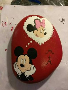 Mickey Thinking of Minnie painted rock