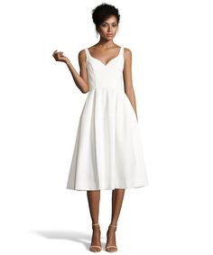 JILL Jill Stuart off white stretch crepe fit-and-flare tea length dress