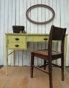 Vintage Modern Wooden Desk Vanity Entry Way Table in Distressed yellow with drawers French Country Paris Apartment beach cottage shabby chic Modern Vintage