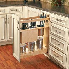 Rev-A-Shelf Pull-Out Knife and Utensil Base Cabinet Organizer with Blumotion Soft Close Diy Kitchen Storage, Kitchen Organization, Kitchen Decor, Kitchen Ideas, Red Kitchen, Kitchen Designs, Organization Ideas, New Kitchen Cabinets, Base Cabinets
