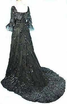 Redfern & Sons black Chantilly lace with heavy black paillettes!