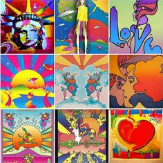 Upper unit artists are studying artist Peter Max. From the Peter Max Website : America's Painter Laureate and Pop Art Icon, Peter Max's b. Peter Max Art, 60s Art, Retro Art, Hippie Art, Hippie Chick, Hippie Life, Art Icon, Psychedelic Art, Teaching Art