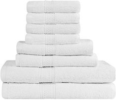 Premium 8 Piece Towel Set (White); 2 Bath Towels, 2 Hand Towels and 4 Washcloths - Cotton - Machine Washable, Hotel Quality, Super Soft and Highly Absorbent by Utopia Towels - Get the most value for your money with our Top-Rated Bath Towel Set! Pamper yourself with the 100% Cotton 8-Piece Bath Towel Set made from soft and durable terry cloth. Each set comes with 2 Bath towels (24 x 54 Inches), 2 Hand towels (16 x 28 Inches), and 4 Washcloths (13 x 13 Inches) for your h...
