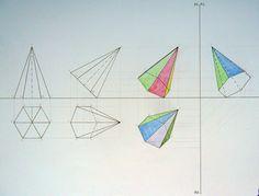 piramide esagonale inclinata ai piani di proiezione (rotazioni successive)