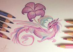 Pink flower dragoness by Alvia Alcedo