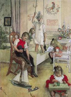 Christmas Morning - 1894 - by Carl Larsson, Swedish painter and interior designer - Style: Art Nouveau (Modern) - Mlle Carl Larsson, Swedish Christmas, Christmas Morning, Christmas Art, Homemade Christmas, Christmas Christmas, Christmas Graphics, Scandinavian Christmas, Vintage Christmas