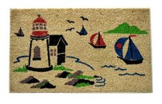 Imports Decor Vinyl Back Coir Doormat, Seaside Scene, 18-Inch by 30-Inch by Imports Décor. $27.99. 100-percent coir fibre. Painted with water based colors. Ideal for moderate to heavy-use traffic areas. Vinyl backing prevents skidding. Measures 18-inch by 30-inch. Add personality to your front door with this vinyl backed coir doormat printed with a lovely seaside scene of sailboats and a lighthouse. Our coir doormats are constructed from the best quality coir and prin...