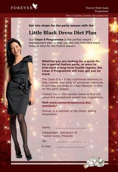 Clean 9 - Forever Living Products - Getting into that little black dress the natural way! Contact me. Forever Living Clean 9, Forever Living Business, Clean9, Marketing Program, Marketing Companies, Forever Life, Forever Living Products, Weight Loss Challenge, Keep Fit