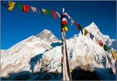 Mt. Everest and Buddhist Prayer Flags