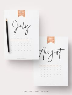 2016 Calendar Printable Calendar Rose Gold by IndigoPrintables