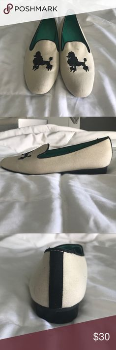 black and white poodle loafers black and white poodle loafers. sole is a bright sea foam green. never worn and in great condition! Seychelles Shoes Flats & Loafers