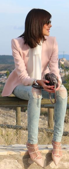 Pink blazer, ripped jeans, white ribbon collar shirt. Daytime outfit..... love these shoes