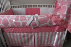 Hey, I found this really awesome Etsy listing at http://www.etsy.com/listing/106462352/pink-and-white-giraffe-girl-baby-bedding