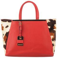 Monnari - czerwona duża torba, deseń w łaty | Czerwone Torebki