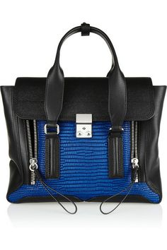 "3.1 Phillip Lim 'The Pashli"" Medium Leather Trapeze Bag with Croc-Effect Leather on a Blue and Black Palette"