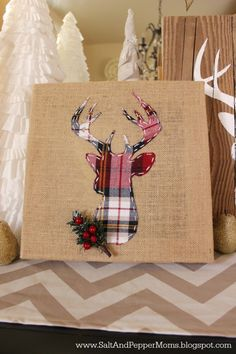 DIY plaid deer holiday decor idea. See 15 awesome DIY holiday decor ideas on www.prettymyparty.com.