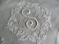 """Good golly, this is a beautiful monogram! from The Pink Rose Cottage - Vintage Whitework Monogram """"S"""" Bridal Handkerchief"""
